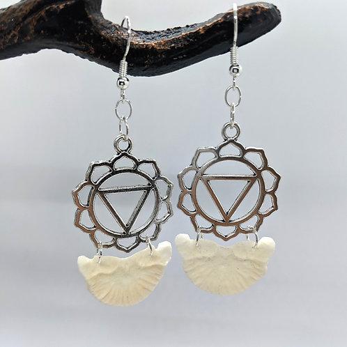 Wild Boar Vertebrae End Cap Earrings with Lotus Flower of Life Pendant