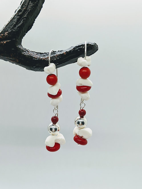 Softshell Turtle Carpal Earrings with Red & Silver Beads