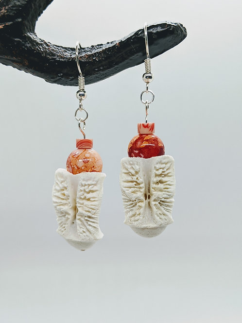 American Alligator Vertebral Centrum Earrings with Ceramic Orange Swirl Bead & C