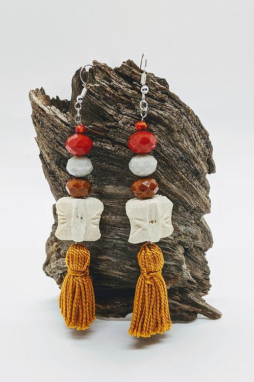 Wild Boar Vertebral Centrum Earrings with Brown Tassel