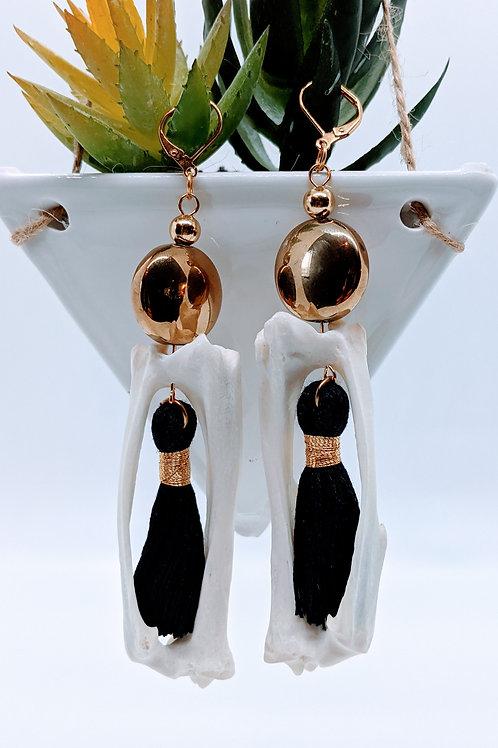 Armadillo Tibia & Fibula Earrings with Black & Gold Tassel