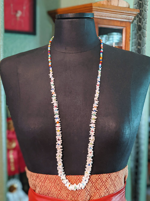 Burmese Python Vertebrae Necklace with Multi Colored Beads