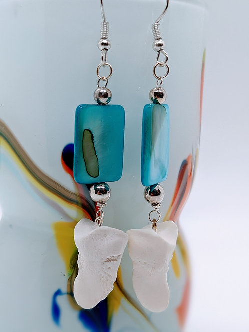 Wild Boar Coffin Bone with Blue Mother of Pearl
