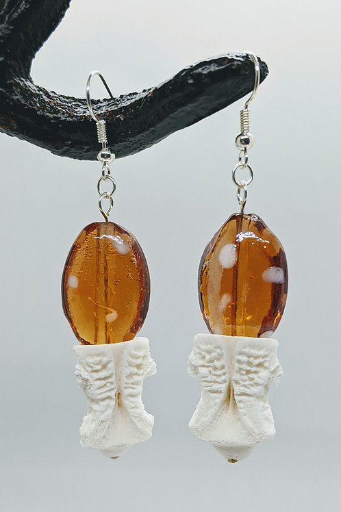 American Alligator Vertebral Centrum Earrings with Lampwork Beads Orange & White