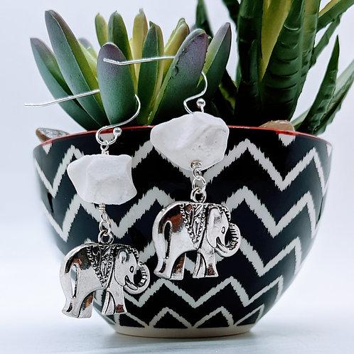 Wild Boar Carpal Earrings with Elephant Pendant