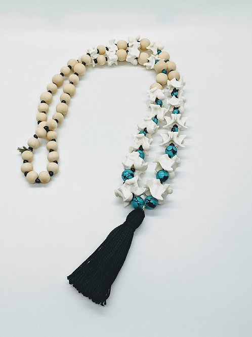 Burmese Python Vertebrae Necklace with Reconstructed Turquoise  and Tassel