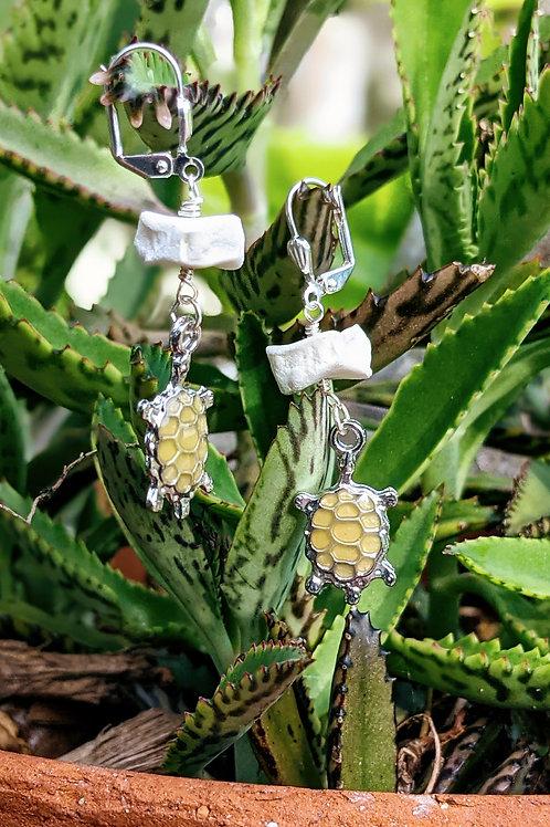 Wild Boar Carpal Earrings with Turtle Pendant