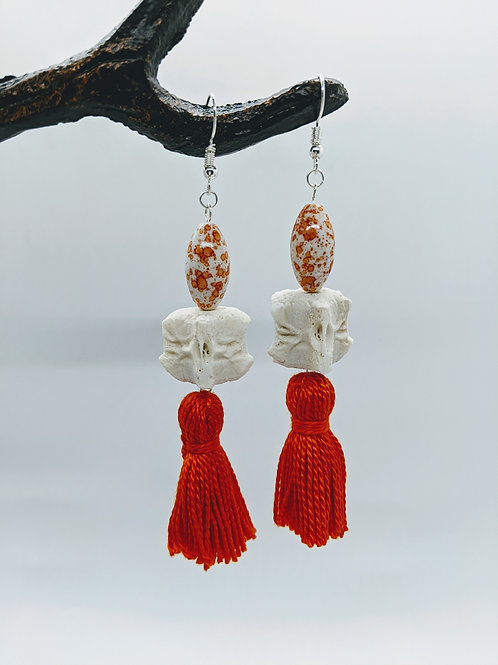 Wild Boar Vertebral Centrum Earrings with Orange Bead & Tassel