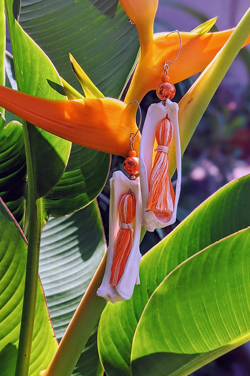 Armadillo Tibia & Fibula Earrings with Orange Tassel