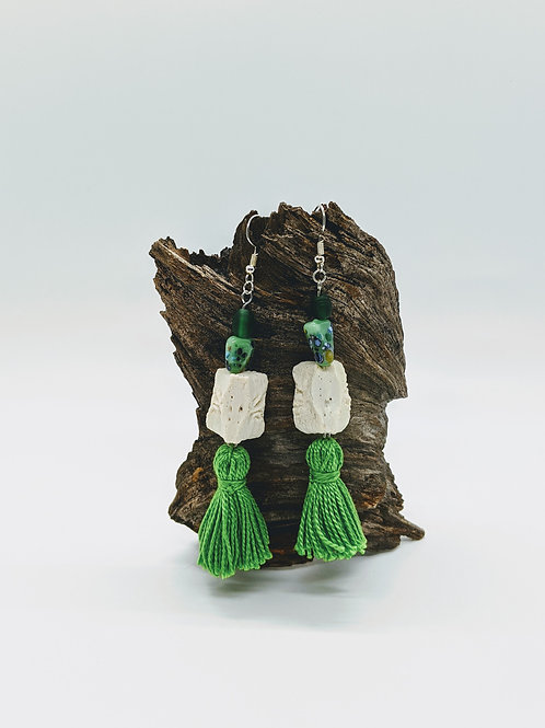 Wild Boar Vertebral Centrum Earrings w/Green Tassel & Bead