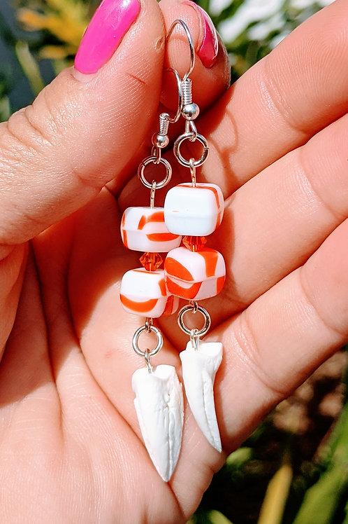 Softshell Turtle Terminal Phalange Earrings with Square Orange & White Beads