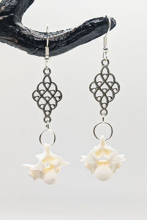 Burmese Python Vertebrae Earrings with Mini Chandelier Pendant