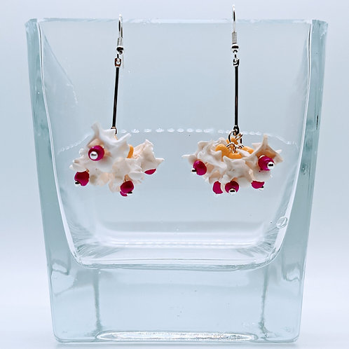 Burmese Python Vertebrae Drop Cluster Earrings Yellow & Pink