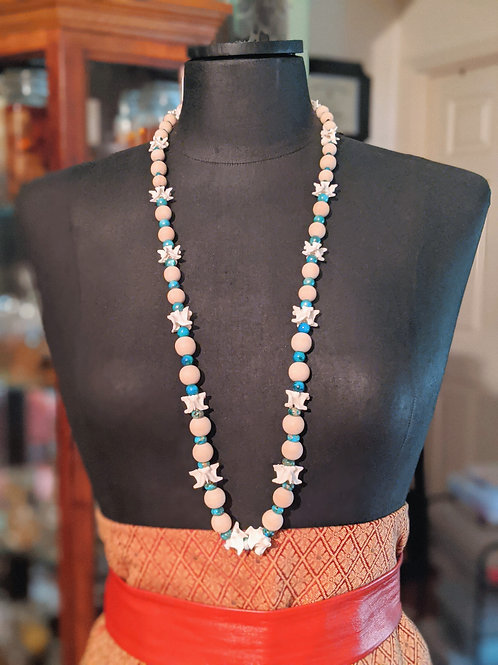 Burmese Python Vertebrae Necklace with Jasper and Dyed Aqua