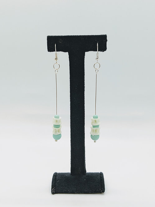 Bullhead Catfish Vertebrae Earrings with Light Green Bead