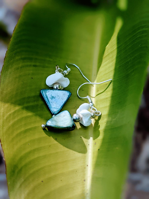 Wild Boar Carpal Earrings with Green Mother of Pearl