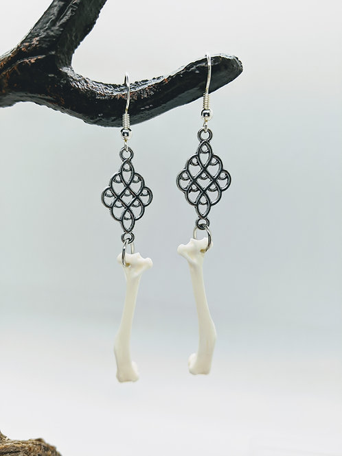 Squirrel Humerus Earrings with SIlver Connector