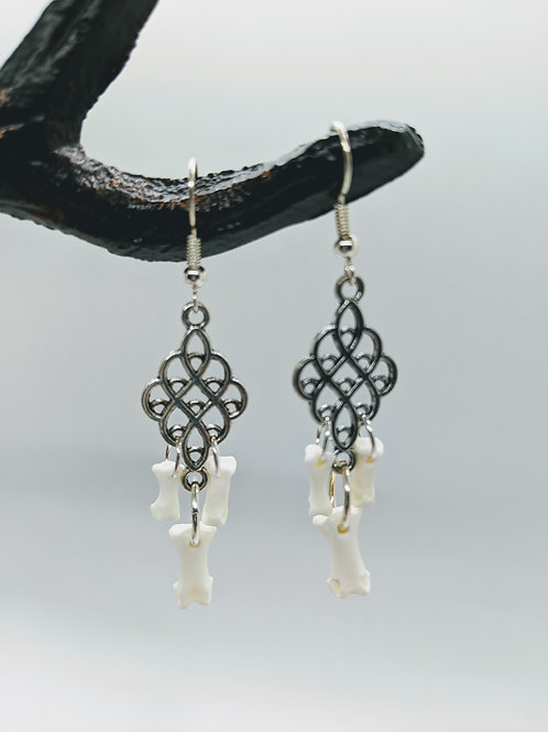 Softshell Turtle Phalange Earrings with Mini Chandelier Pendant