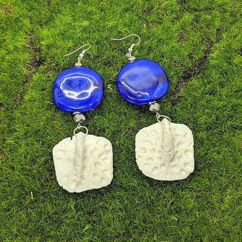 Alligator Osteoderm Earrings with Large Ceramic Coin Bead