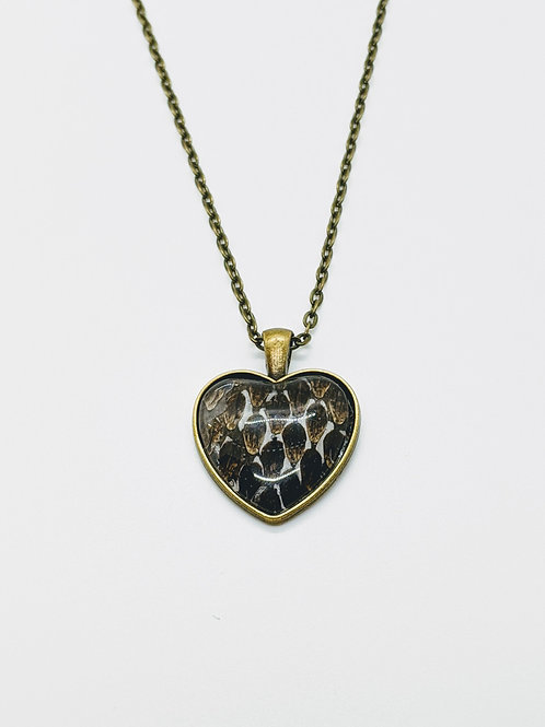 Eastern Diamondback Rattlesnake Skin Pendant Necklace Heart Antique B