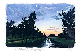 Chico, CA Sunset, Watercolor & gouache, 2020
