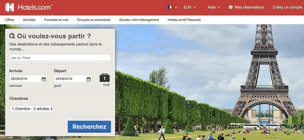 le site hotels.com utiliser un VPN pour payer moins cher sa chambre ou nuit d'hôtel pour les étudiants