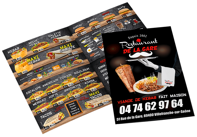 graphisme kebab lyon, menu kebab impression, flyer