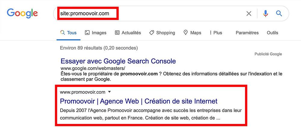 vérifier que son site wix apparait bien sur google