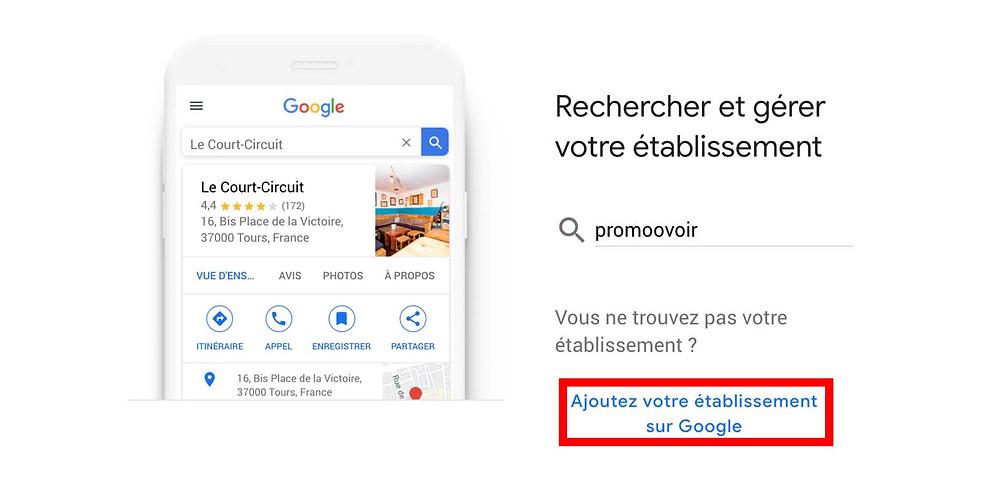 ajoutez votre établissement sur google