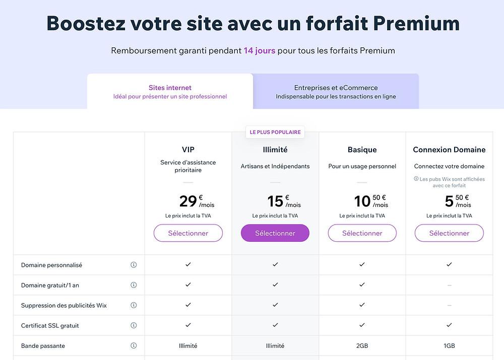 tarif wix forfait premium