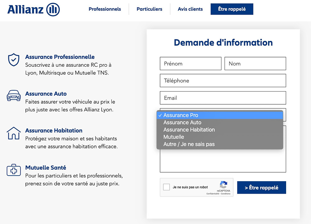 exemple formulaire contact Wix