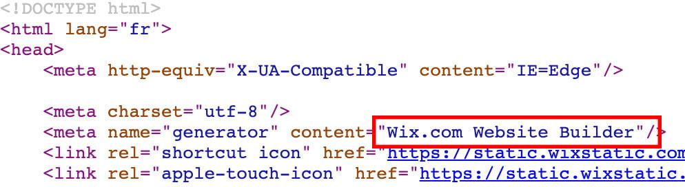 wix dans le code source
