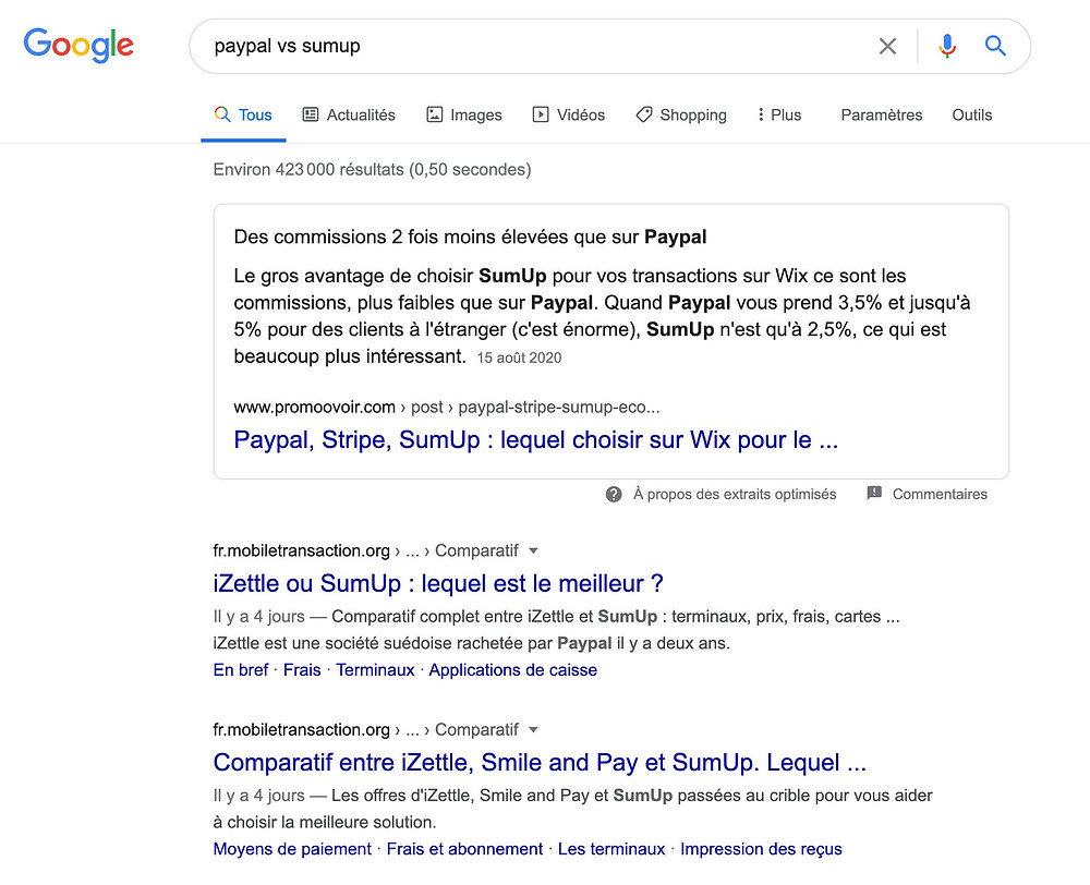 exemple de featured snippet wix