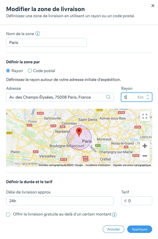 livraison locale wix stores zone géographique