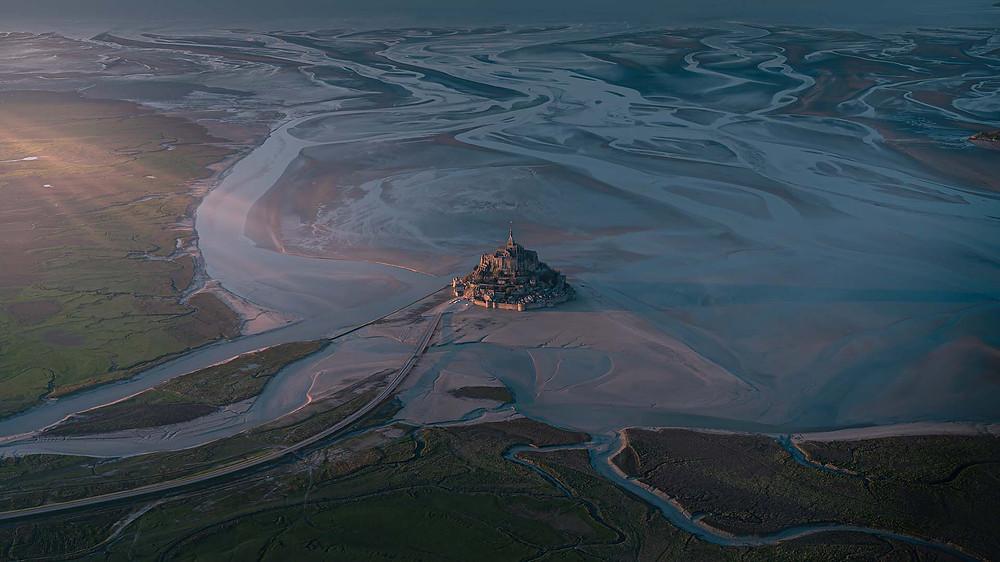 Mont saint michel drone photo aérienne