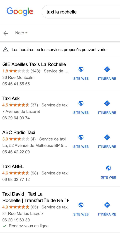 avis clients sur google maps pour référencement