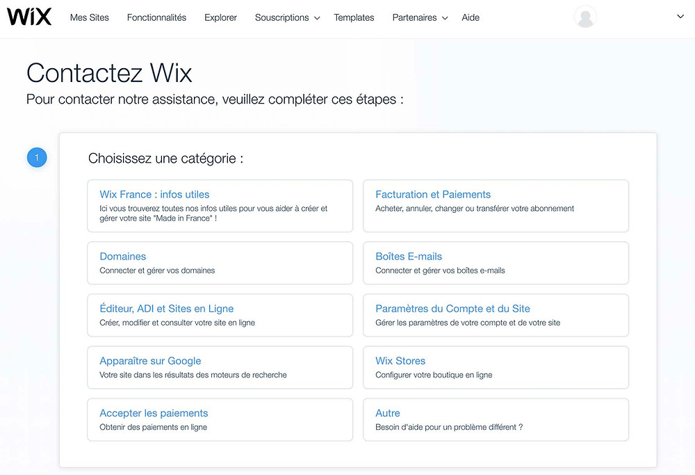 page contact wix
