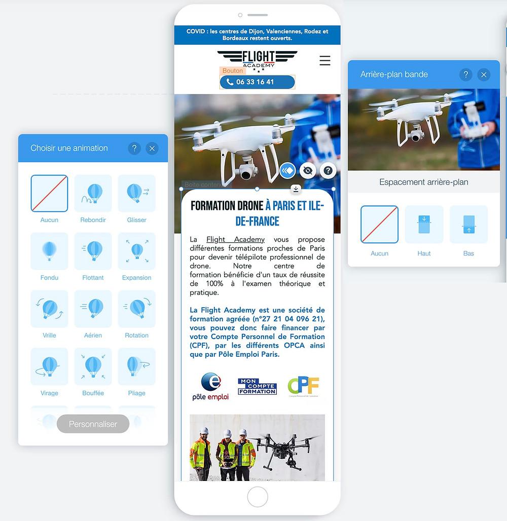 Wix editeur mobile responsive