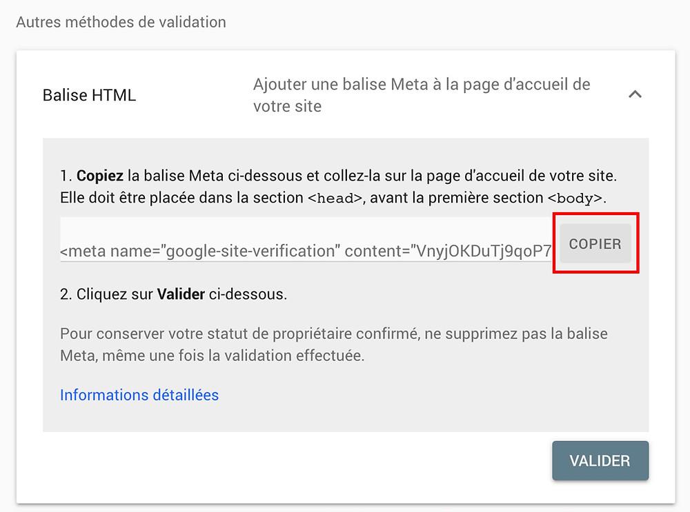 Balise HTML meta pour la google search console