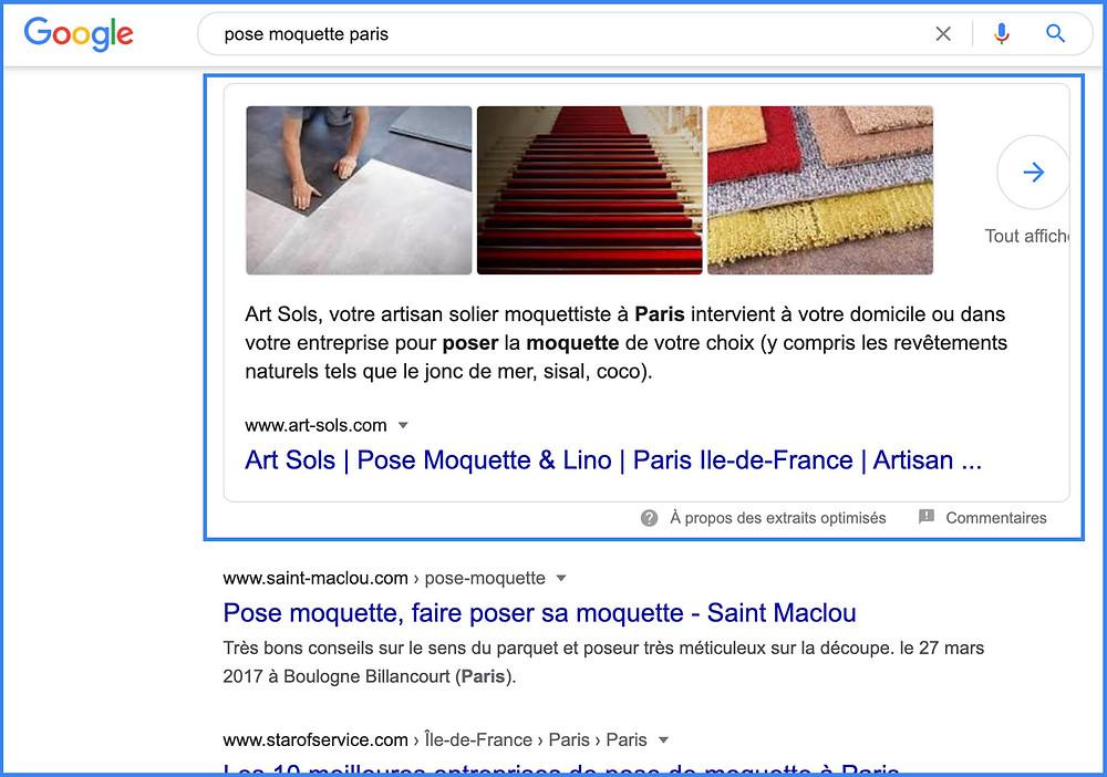 Extrait optimisé Google avec site wix - featured snippet Wix