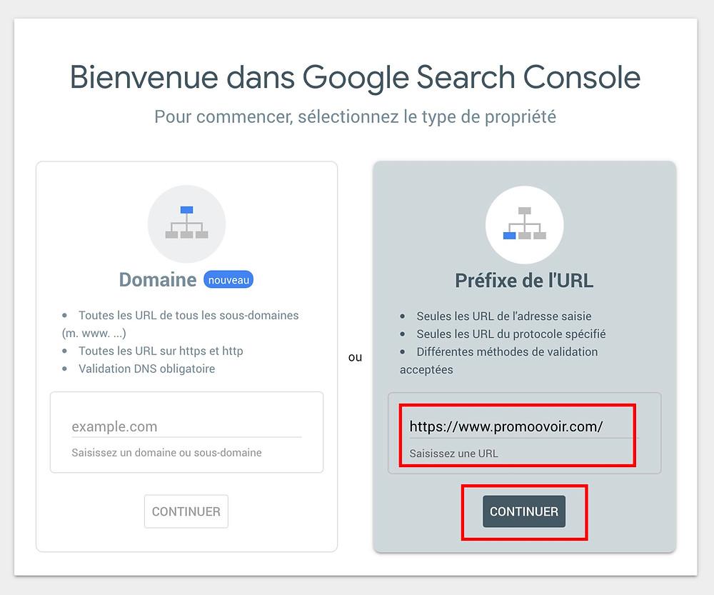 google search console préfixe de l'url