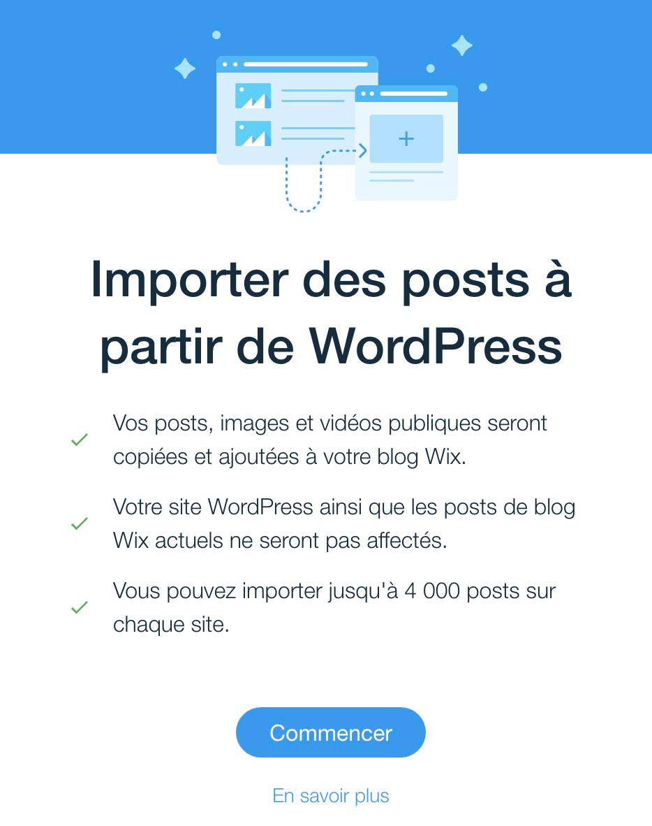 importer blog wordpress vers wix