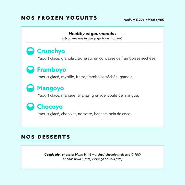 Pokyo - menu frozen yogurt