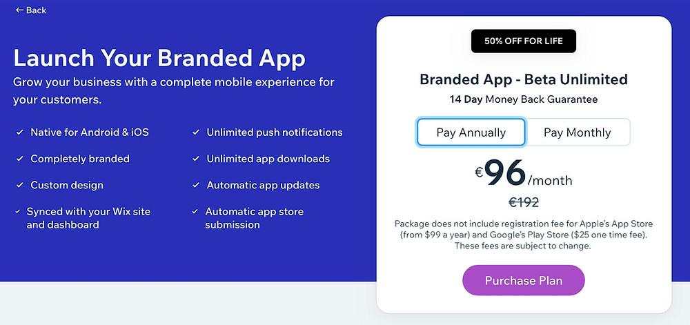 tarif branded app wix