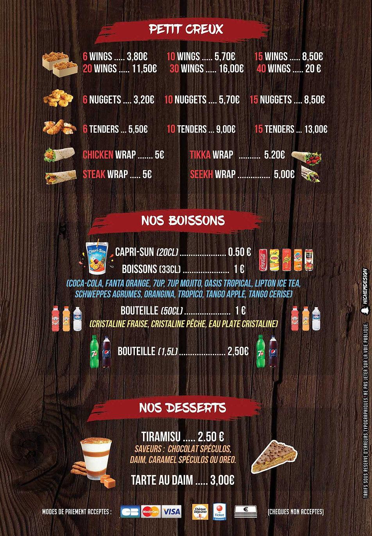 menu halal poulet frit villiers le bel VLB