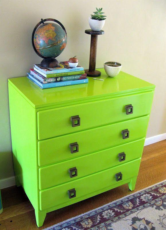 commode verte pomme peinture sur meuble