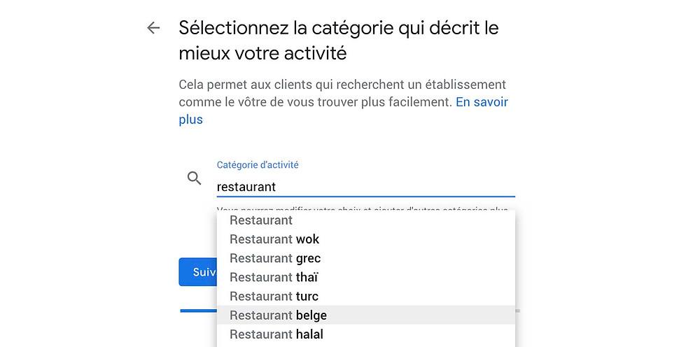 catégorie d'activité sur google my business liste