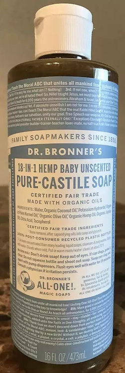 Dr Bronners Baby Unscented Castille Soap 16oz