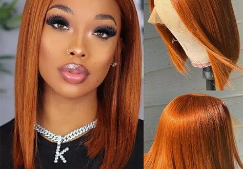 Ginger Orange Short Bob Transparent Lace Wig