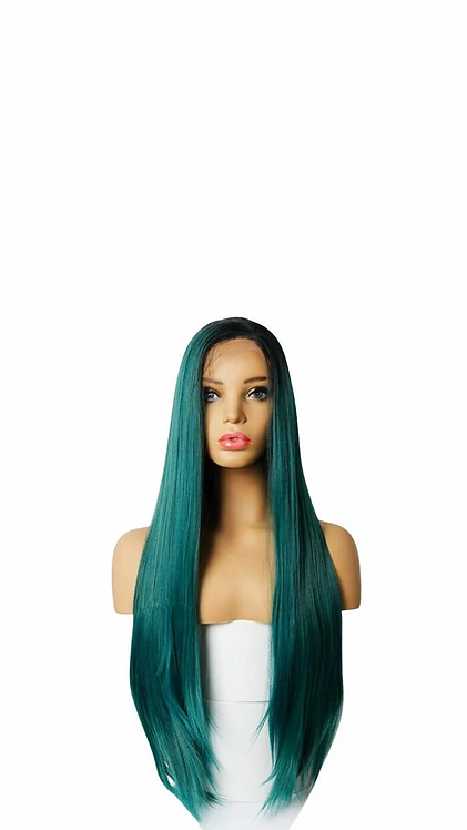 Long Ombre Green Synthetic Wig 24 inches